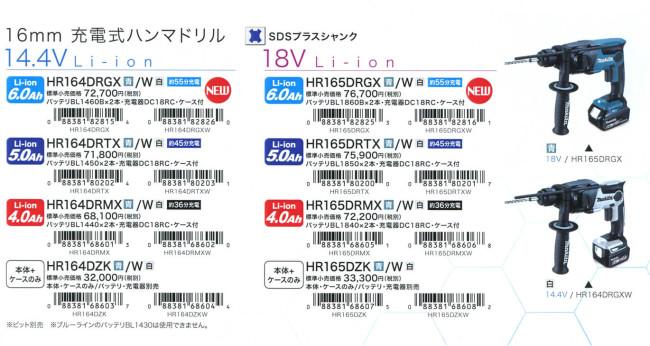 HR165D HR164D ラインナップ
