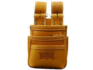 ニックス KGC-301DDX チェーンタイプ高級グローブ革仕様3段腰袋(キャメル)